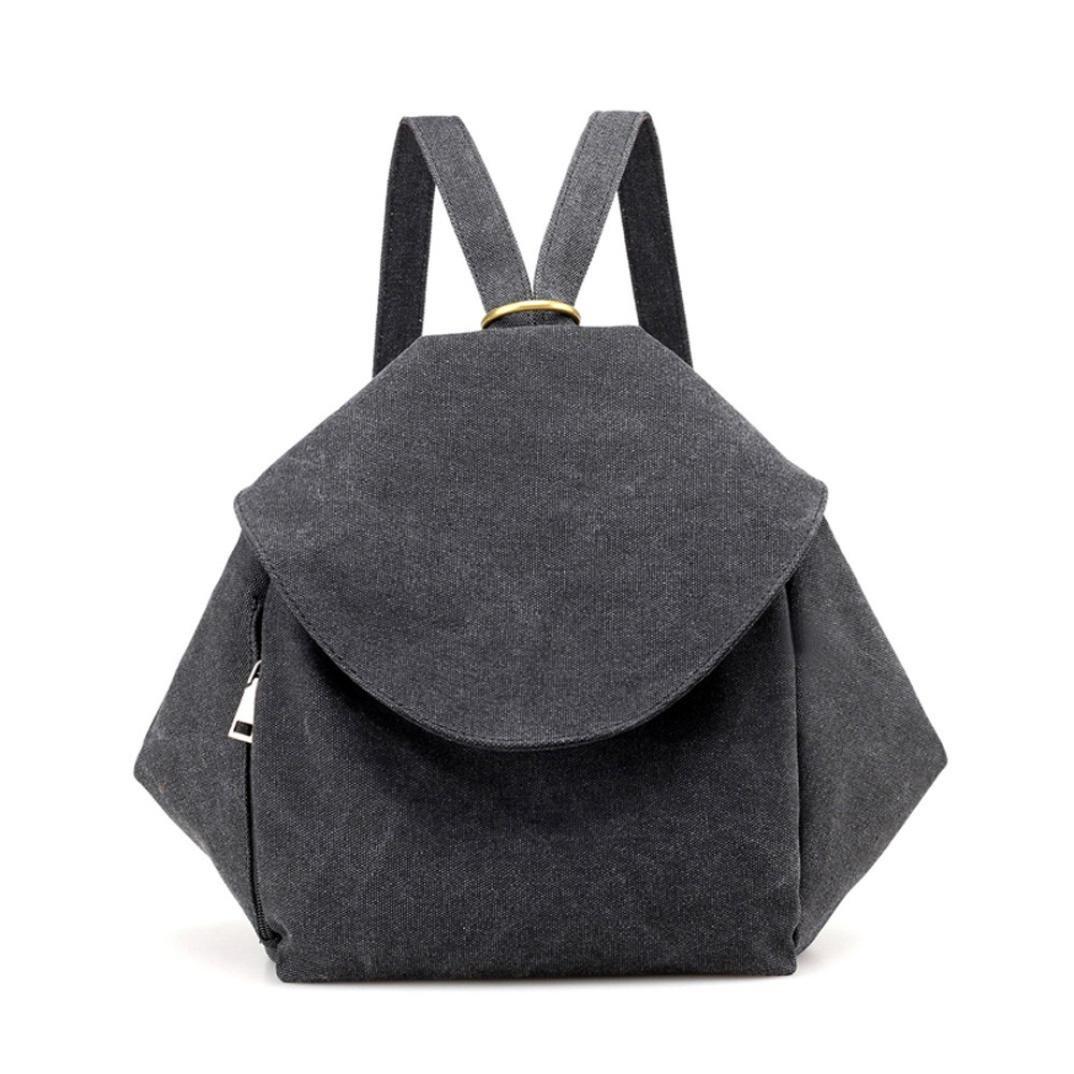 Sinohomie SchoolBag Laptop Flap Pocket Outdoor Bag Backpack Soft Satchel Handbag for Lady (Black)