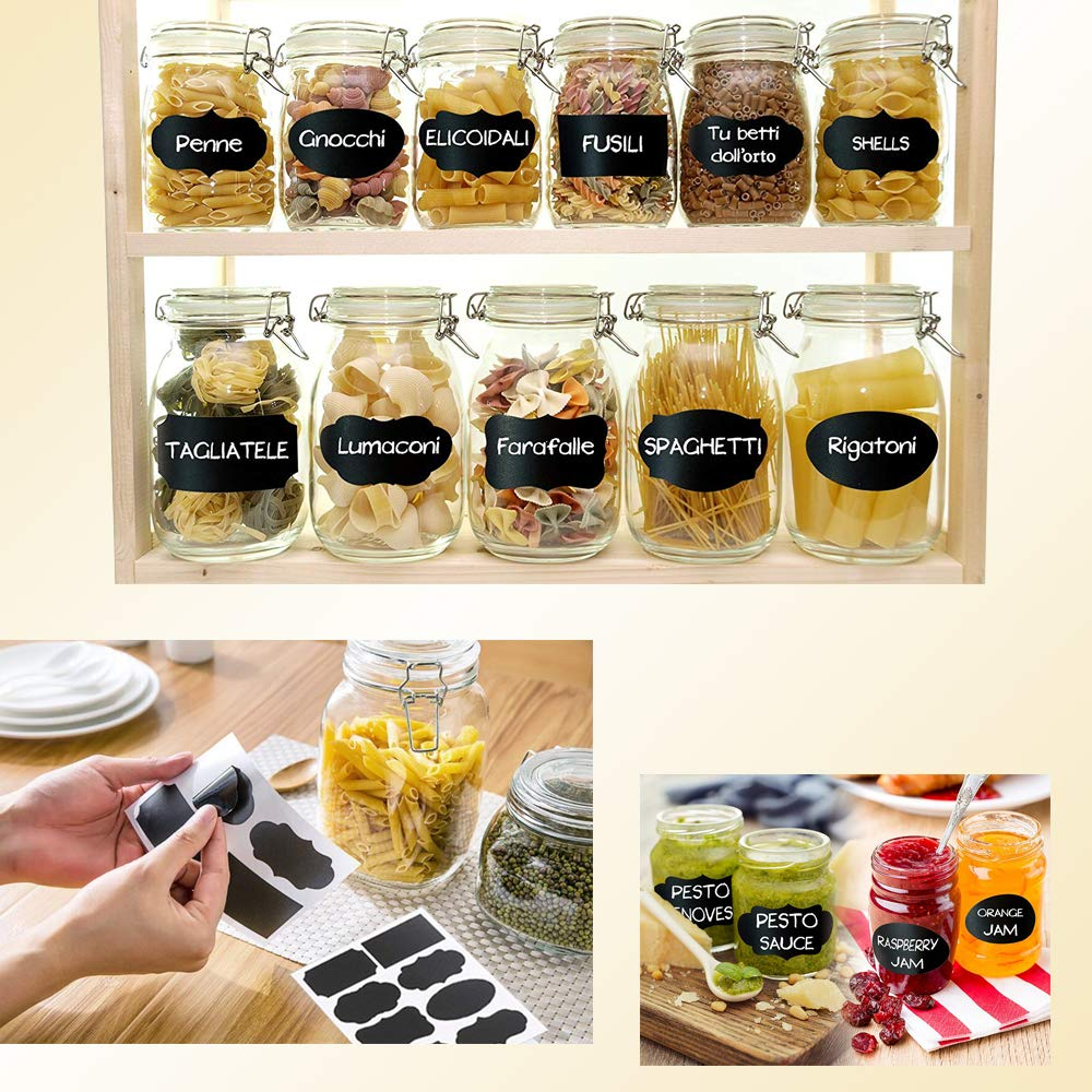 BANBLUE Acrylic Spice Rack Organizer - 5 Tiers Kitchen Seasoning Shelf Stand Holder & Chalkboard Lables (40 pcs) Storage Stickers for Jars