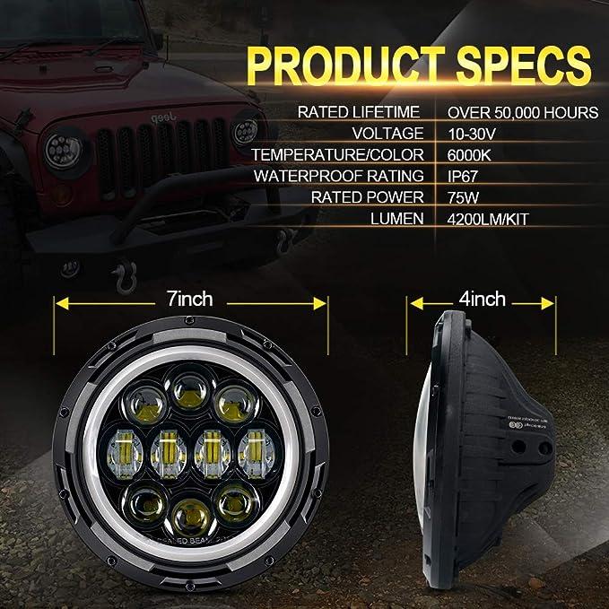 Amazon.com: Faros delanteros LED de ojo de ángel con luz LED ...