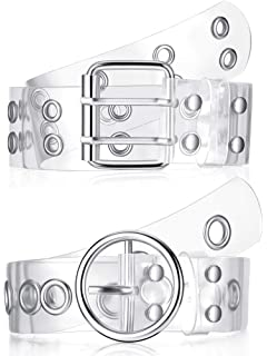 Two 12 Fashion Womens Lucite Clear Belt with Leather Border