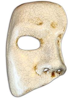 Máscara media cara veneciana Phantom para hombres (blanco agrietado)