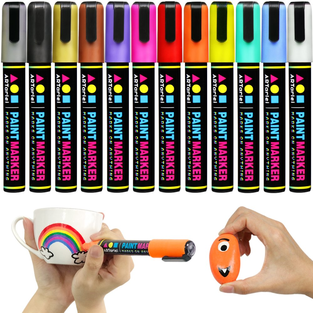 ARTarlei Permanent Paint Markers | Medium Point,Safe To Kids, 12 Vibrant Oil-Based Paint Pens for Any Surface - Canvas, Glass, Stone,Ceramic,Metal, Wood, Rubber,Plastic, Paper, Leather, Clay