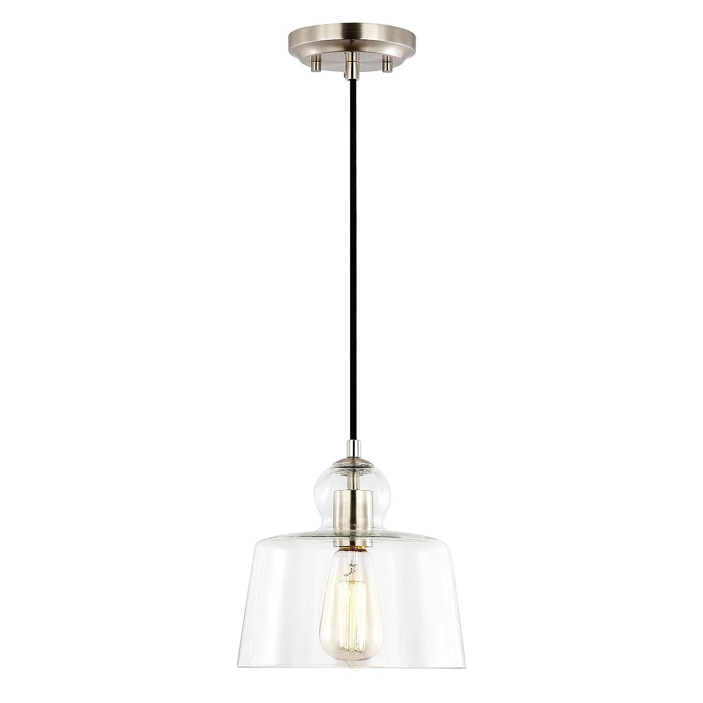 Light Society Tripoli Pendant Light, Satin Nickel with Handblown Clear Glass Shade, Vintage Industrial Modern Lighting Fixture LS-C247-SN
