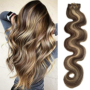 Body Wave Clip In Hair Extensions With Highlights Medium Brown Hair With Blonde Highlighted Wavy