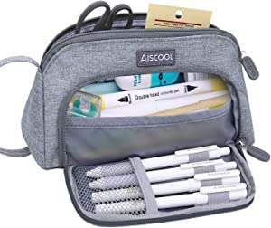 Aiscool Big Capacity Pencil Case Bag Pen Pouch Holder Large Storage Stationery Organizer for School Supplies Office College Teen (Gray)