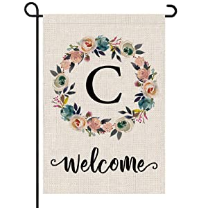PARTY BUZZ Monogram C Garden Flag, Initial Letter C Yard Patio Lawn Flag (12 x 18, Double Sided)