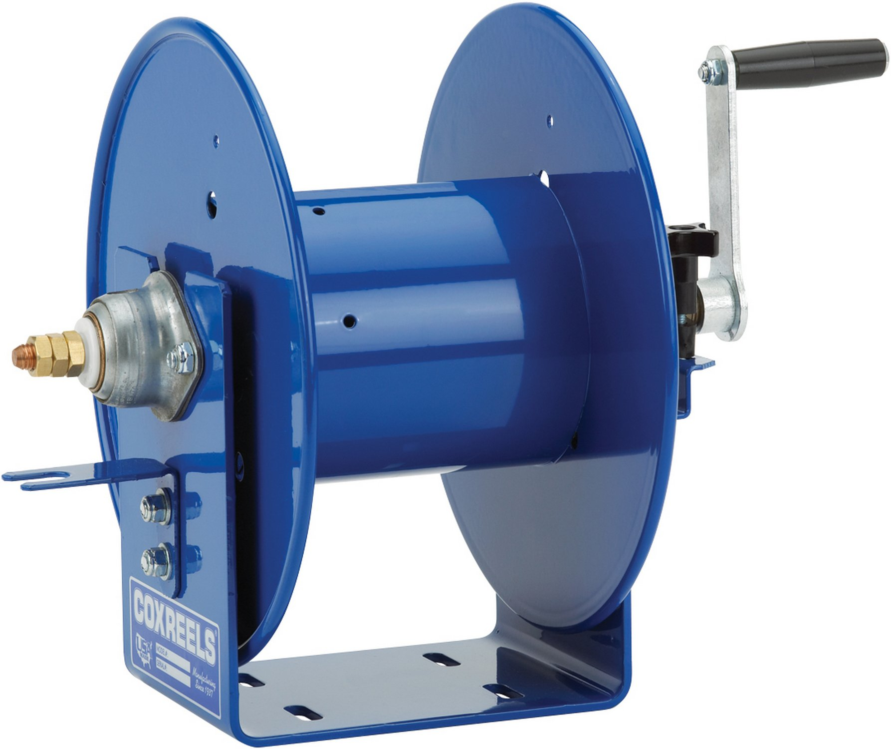 Coxreels 112WCL-6-20 Welding Hand Crank Cable Reel: #2/0 Cable gauge, 100' cable capacity, less cable, 450 Amp
