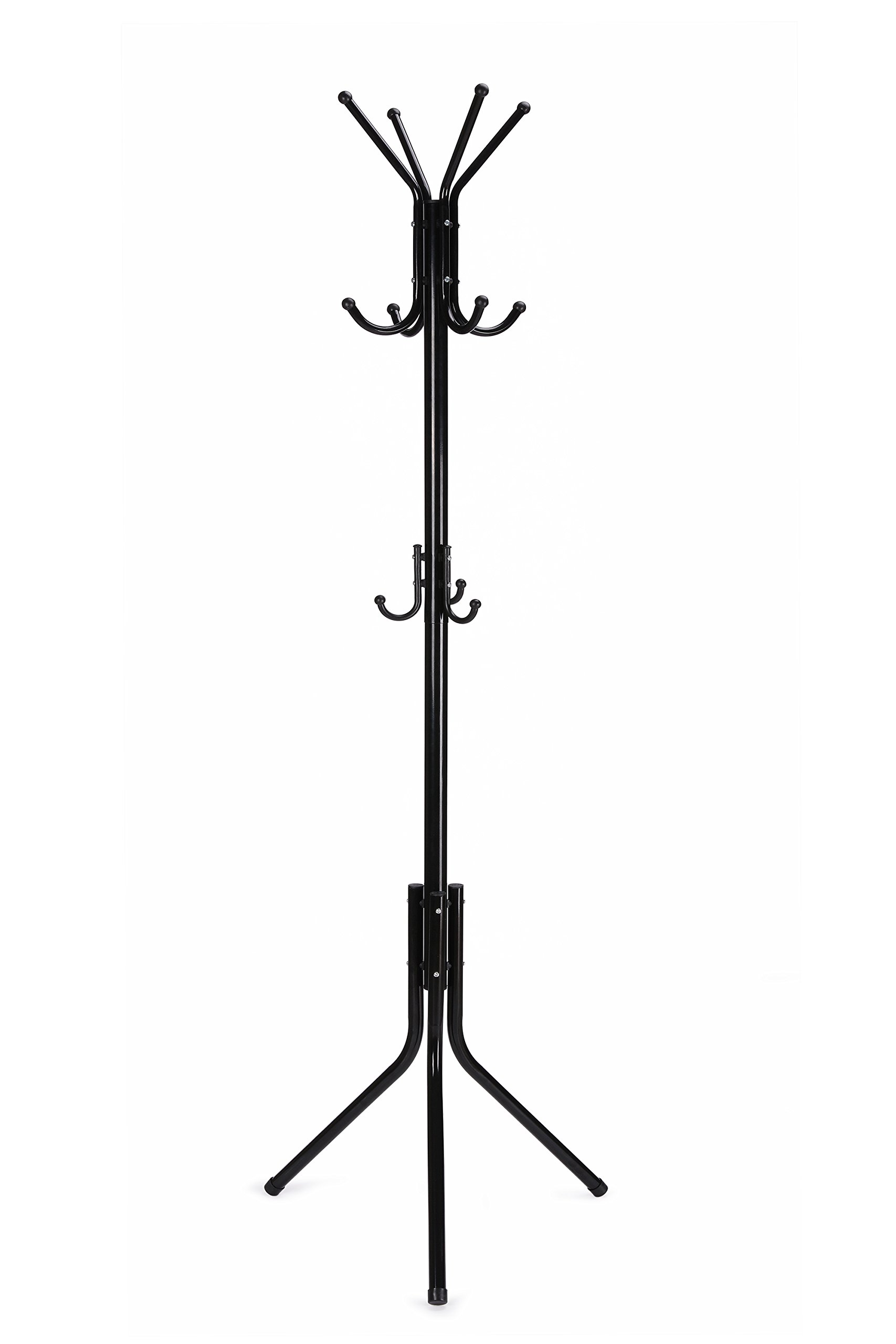 WILSHINE Coat Rack Standing Coat Tree Metal Black with 11 Hooks - STURDY: diameter-expanded main pole and tripod legs make this standing coat rack able to bear heavier loading and stay more firmly at the entryway, in the living room/bedroom or in your office FUNCTIONAL: with 11 hooks in 3 tiers this coat stand can handle daily wearing garments and accessories for the whole family; top tier of hooks for hats or scarves, middle tier for coats and jackets and the bottom tier for purse and bags; the round plastic hook caps could well protect your fancy clothes, while the plastic leg caps could prevent scratches to your timber floor MATERIALS: the main part is made from durable metal with gloss black finish and the bottom tier hooks are made from plastic, this coat rack stand is water-proof, anti-rust and easy to clean - entryway-furniture-decor, entryway-laundry-room, coat-racks - 71FFQ3zuvwL -
