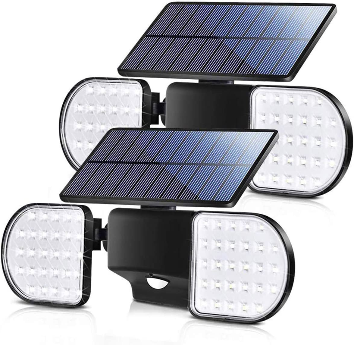 Fitybow Solar Lights Outdoor, Solar Security Lights with Motion Sensor 56 LED Solar Spotlight Lights Waterproof Solar Powered Wall Light Dual Head 360 Rotatable for Yard Garage Patio 2Pack