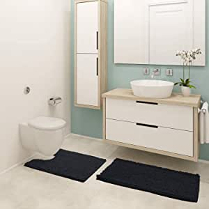 "Pretigo Bathroom Rugs Chenille 2-Piece Bath Mat Set, Soft Plush Anti-Slip Shower Rug +Toilet Mat.1'' Microfiber Shaggy Carpet, Super Absorbent Mats (Black, 32"" 20""/24"" 20"" U-Shaped)"