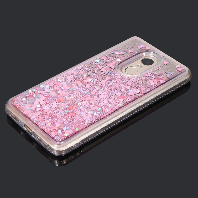 Herbests Kompatibel mit Xiaomi Redmi Note 4 H/ülle Glitzer Fl/üssig Treibsand Handyh/ülle Liebe Herz Flie/ßend Fl/üssigkeit Strass Diamant Bling Silikon Schutzh/ülle Spiegel H/ülle,Rot