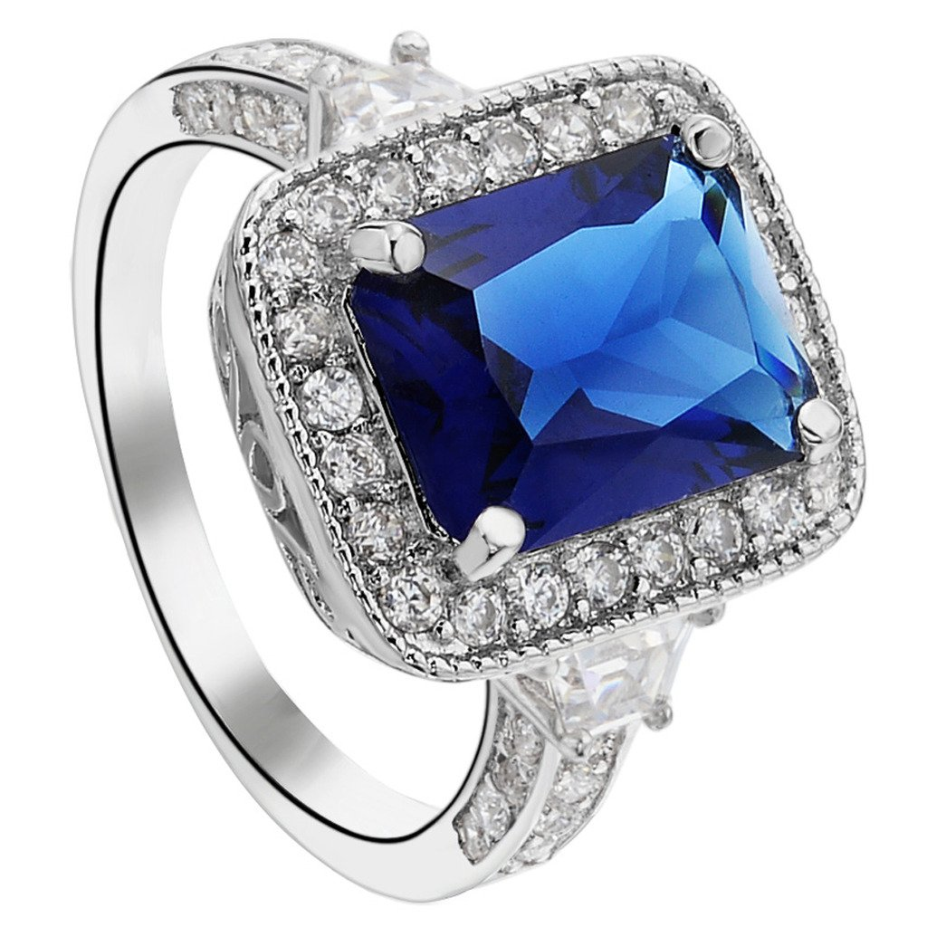 EleQueen Women's Silver-tone Full Cubic Zirconia Cushion Shape Party Cocktail Ring Sapphire Color