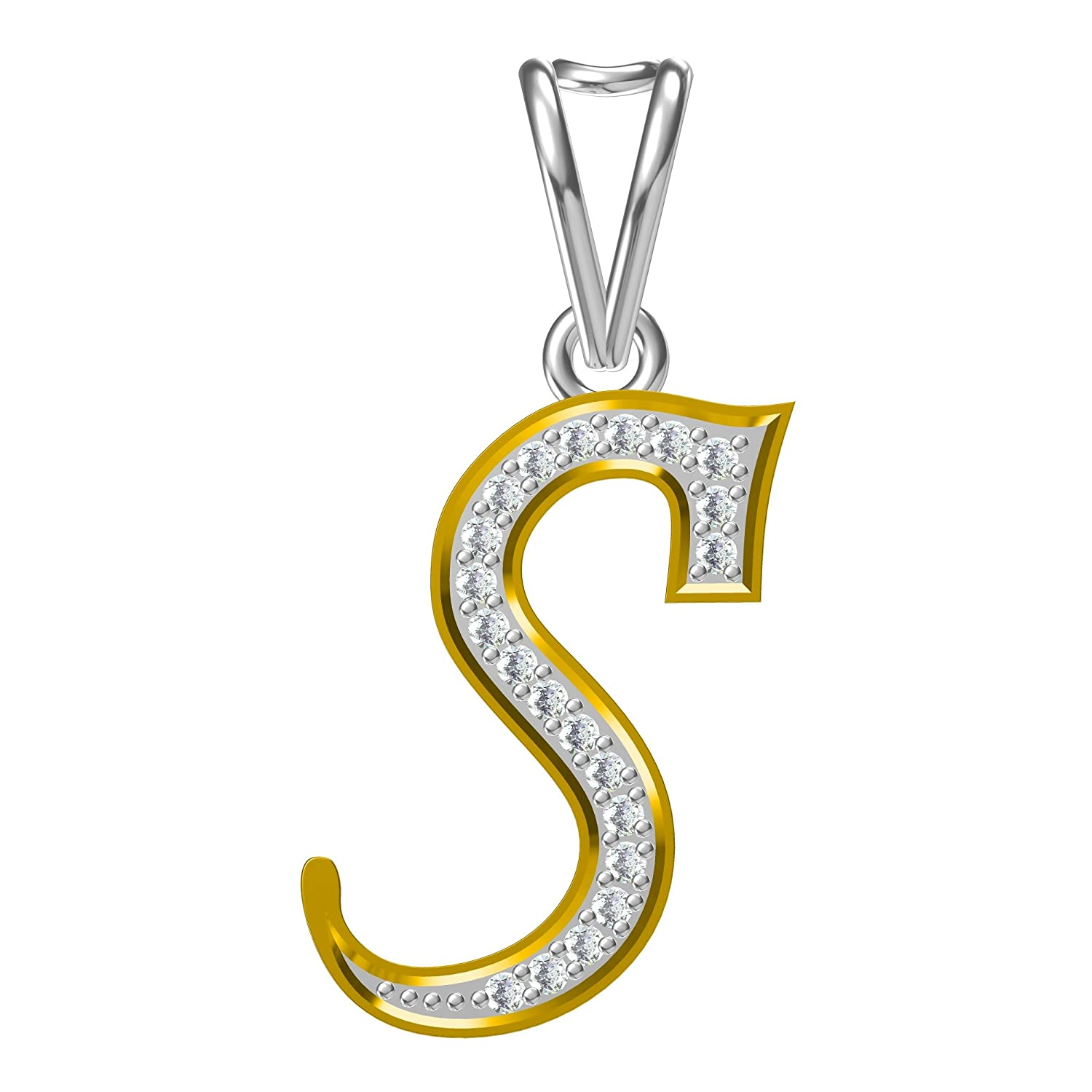 14K Yellow Gold Plated Fn Alloy Simulated Diamond Studded Initial Letter S Pendant Necklace With Chain