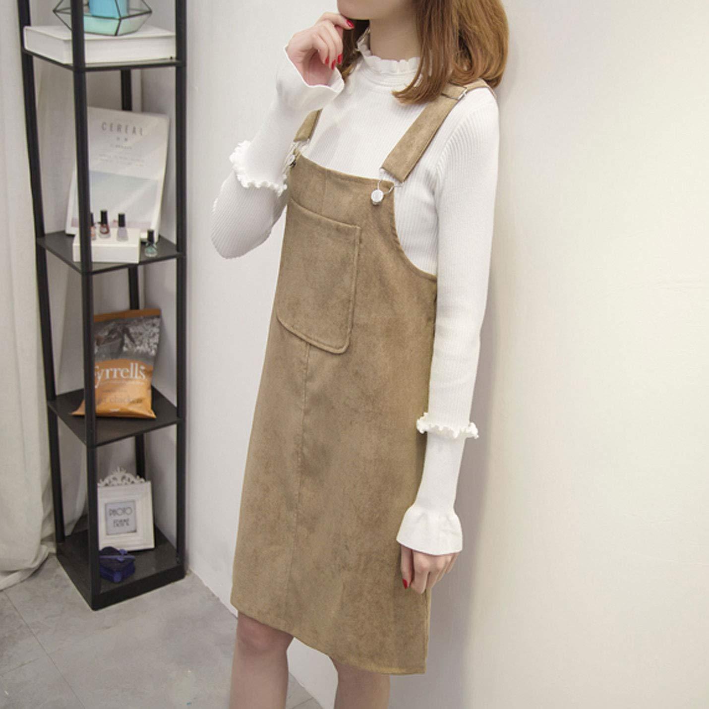a076ddffbf Amazon.com  Flygo Women s Straps A-Line Corduroy Pinafore Bib Overall Dress  Suspender Skirt  Clothing