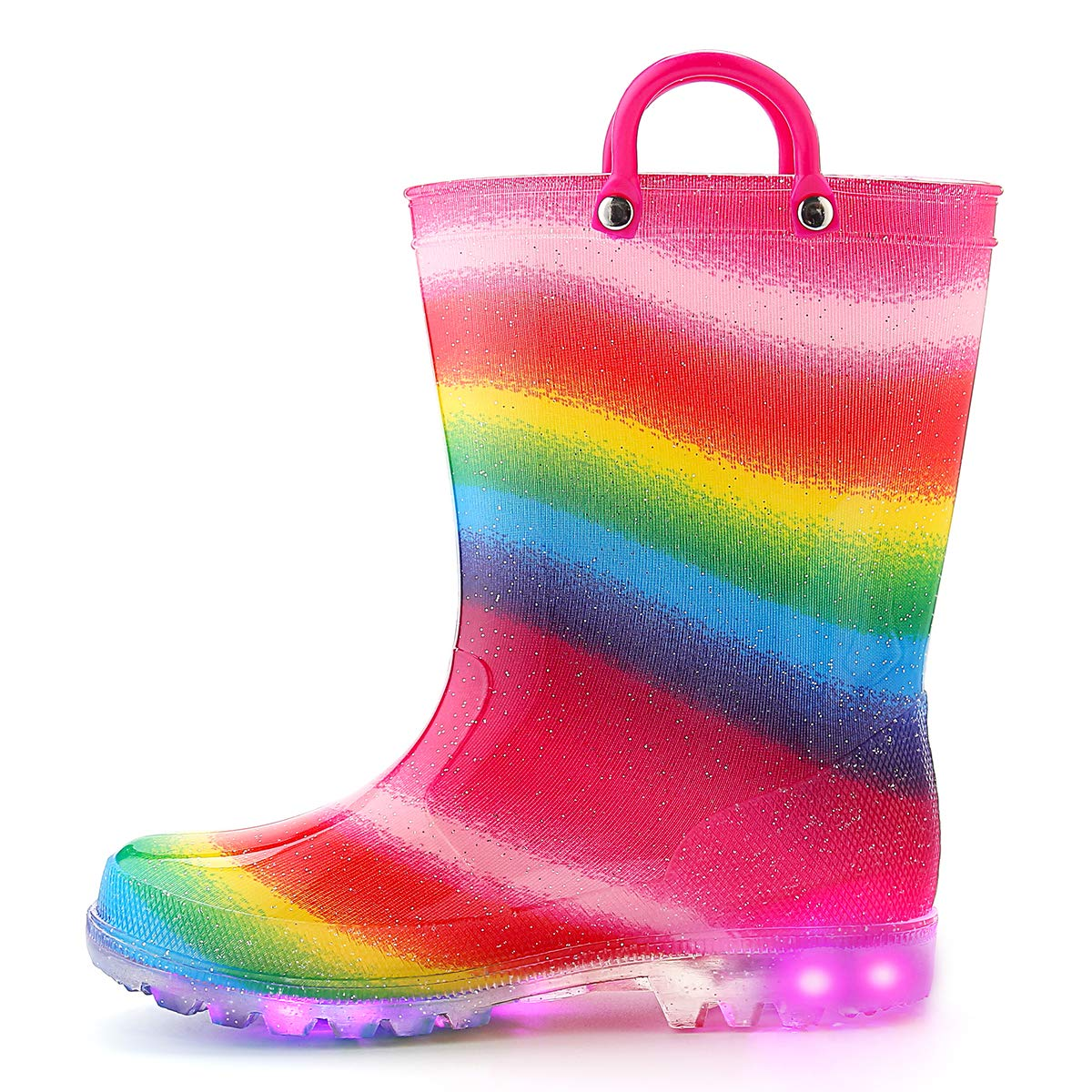 K KomForme Toddler Boy Girl Rain Boots with Light,Kids Shining Shoes with Memory Foam Insole and Easy-on Handles Rainbow