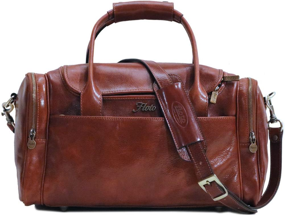 Floto Leather Cargo Duffle Bag Carryon Travel Bag Small