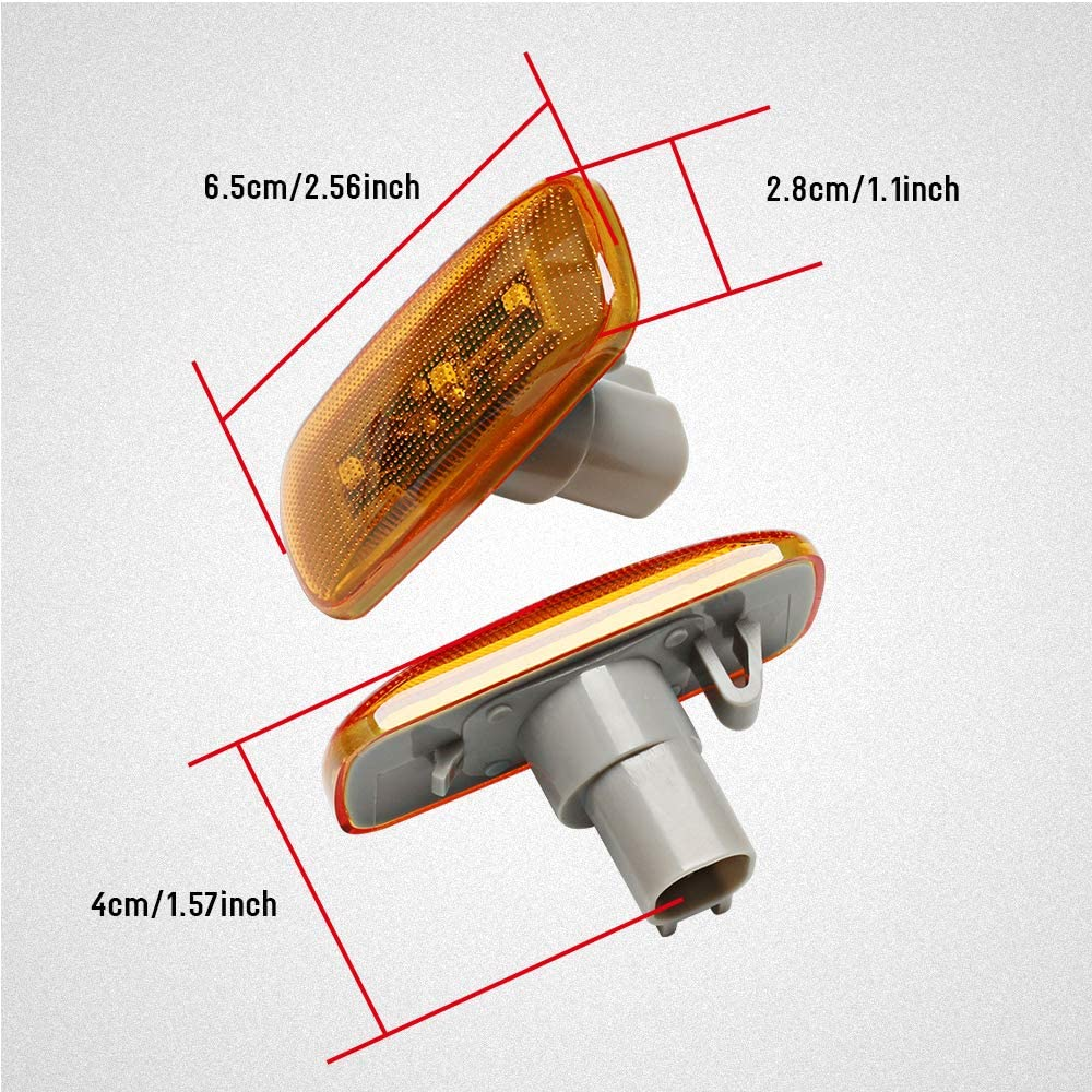 /… 2x Amber, 2x Red 4PCS Dual Cab Bed Fender LED Side Marker Lights for 2010-2017 Dodge Ram 2500 3500