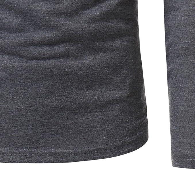 Hombre blusa manga larga Otoño,Sonnena ❤ Blusa de manga larga para hombre con botton Trajes Casuals Slim Fit Camiseta Blusa Top: Amazon.es: Hogar