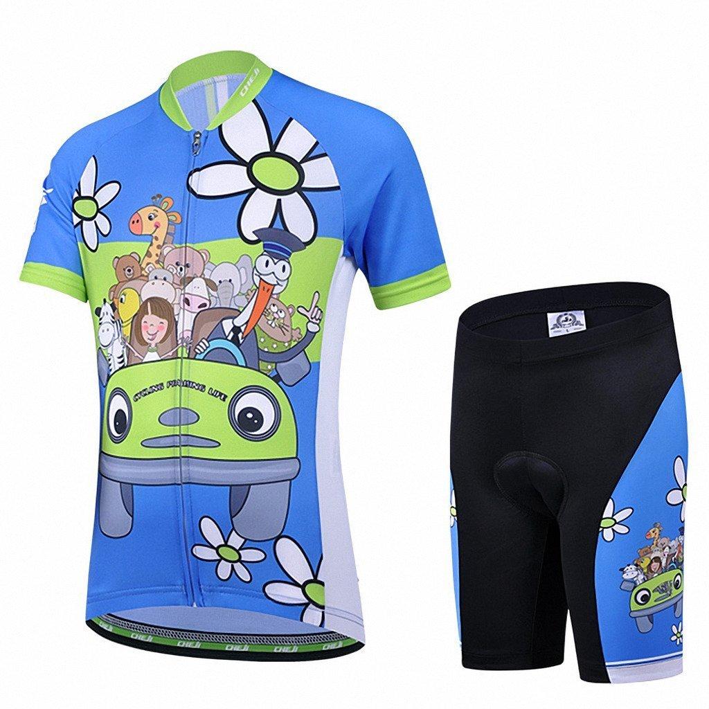 53a17e812 Amigo Unisex Kids Cycling Jersey Set (Short Sleeve Jersey + Padded Shorts)