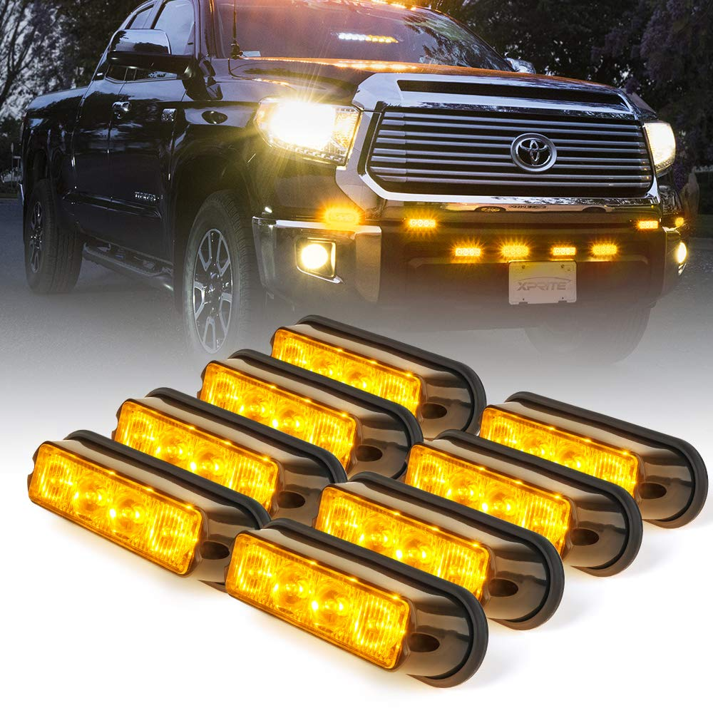 Xprite Amber Yellow 4 LED 4 Watt Emergency Vehicle Waterproof Surface Mount Deck Dash Grille Strobe Light Warning Police Light Head with Clear Lens - 8 Pack