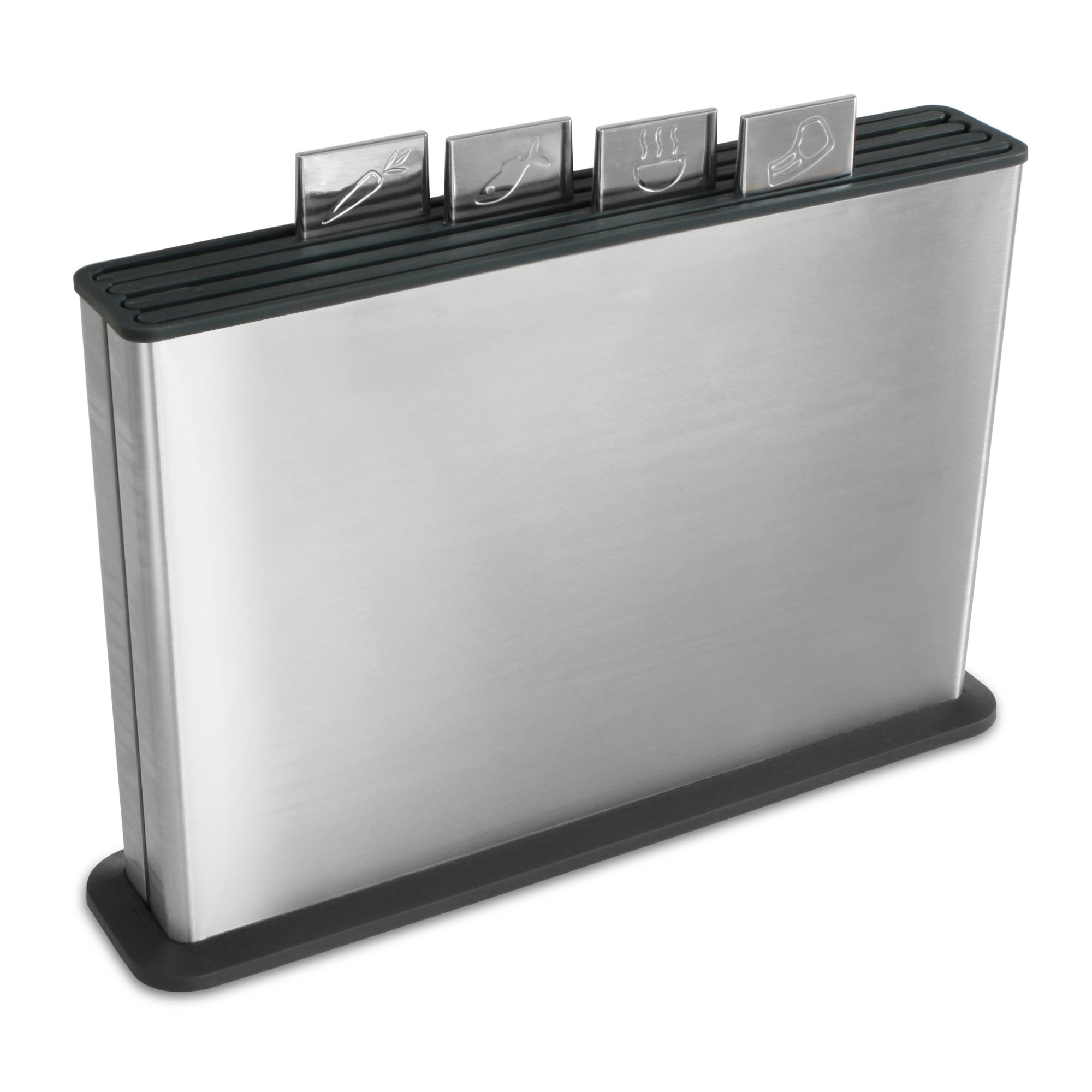 Joseph Joseph 95001 Index Plastic Cutting Board Set with Stainless Steel Storage Case Color-Coded Dishwasher-Safe Non-Slip, Large, Steel Black by Joseph Joseph