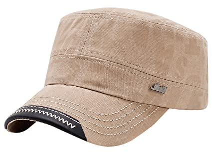 Mens Womens Flat Top Cotton Cap Baseball Hiking Outdoor Army Military Corps  Hat Beige 8b1efcf84573
