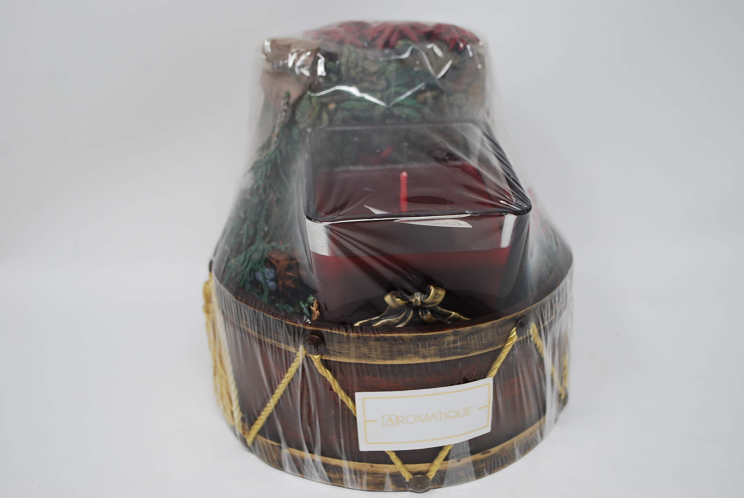 Aromatique The Smell of Christmas Potpourri and Candle Gift Set in Drum Basket by Aromatique