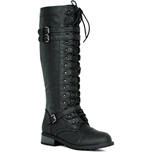 4ebd169c03d Women s Knee High Riding Boots Lace Up Buckles Winter Combat Boots