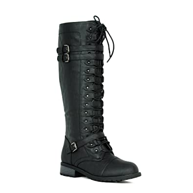Women s Knee High Riding Boots Lace Up Buckles Winter Combat Boots Black 5.5 0dece7e589