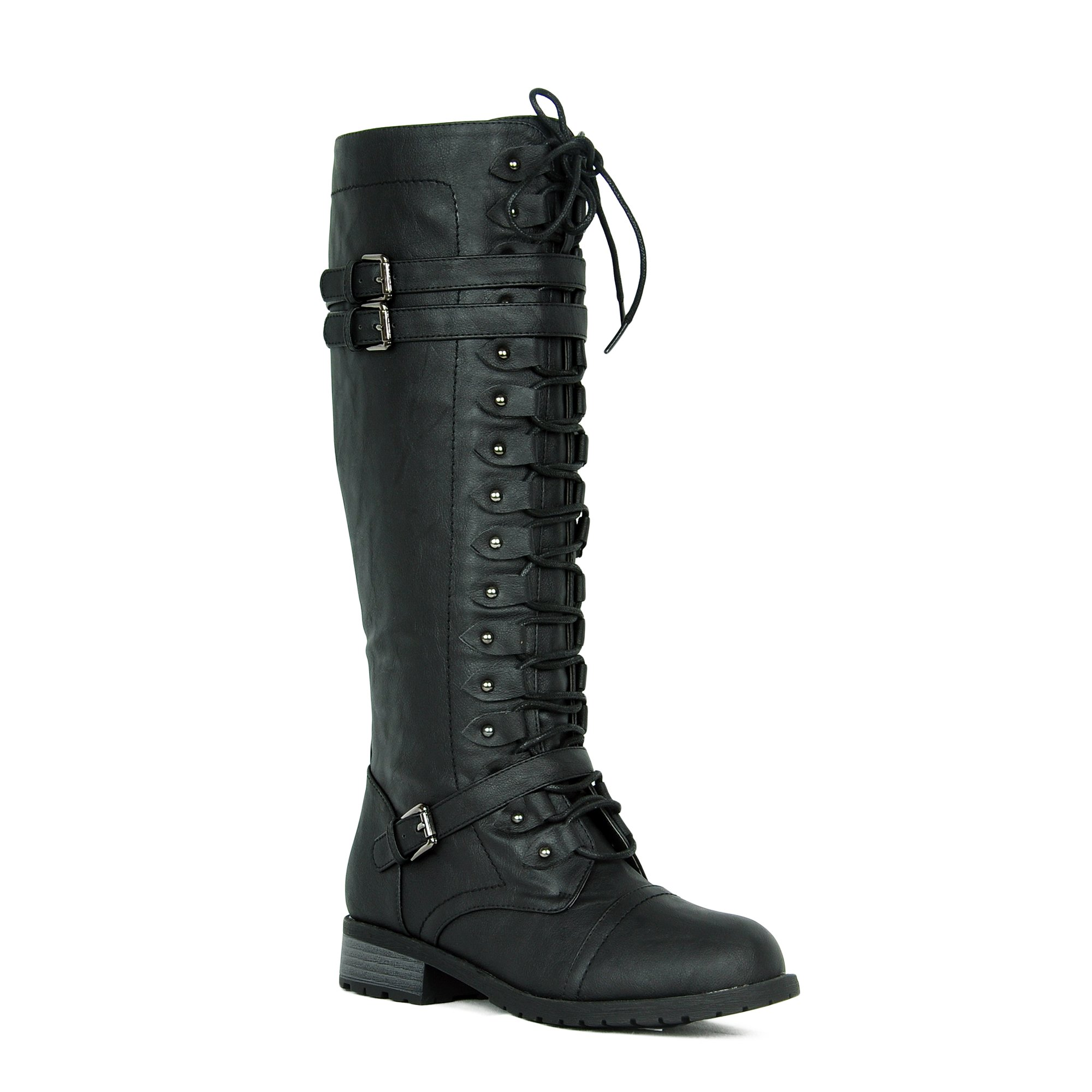 Women's Knee High Riding Boots Lace Up Buckles Winter Combat Boots Black 9