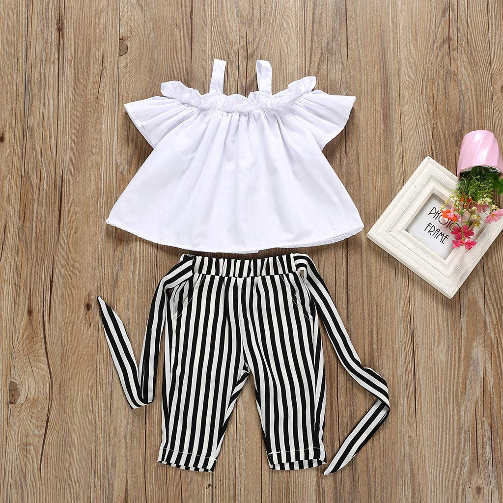 Toddler Girl Outfits,Kids Baby Girl Bow Lace Halter Striped T Shirt Tops+Pants Outfit Clothes Set,Girls Novelty Swimwear,White,110