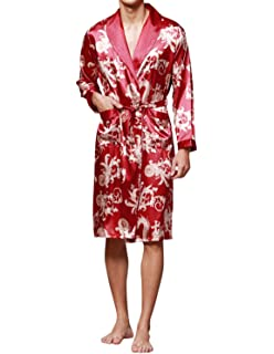 2b9699ce66 Haseil Men s Satin Robe Dragon Luxurious Silk Spa Long Sleeve House Kimono  Bathrobe