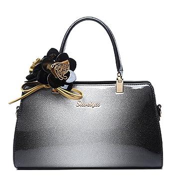 07313549a684d G-AVERIL 2018 Damen Handtaschen Lackleder Farbverlauf Handtasche+Blumendekoration  Grau