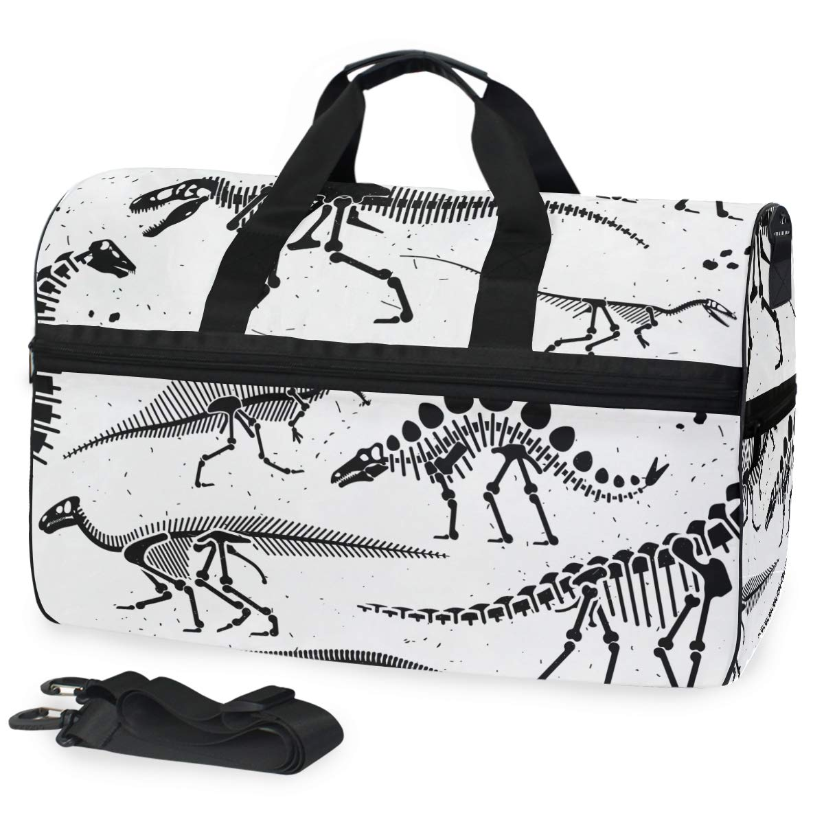 df0437fc2440 Amazon.com | AHOMY Dinosaur Skeleton White Black Sports Gym Bag with Shoes  Compartment Travel Duffel Bag | Sports Duffels