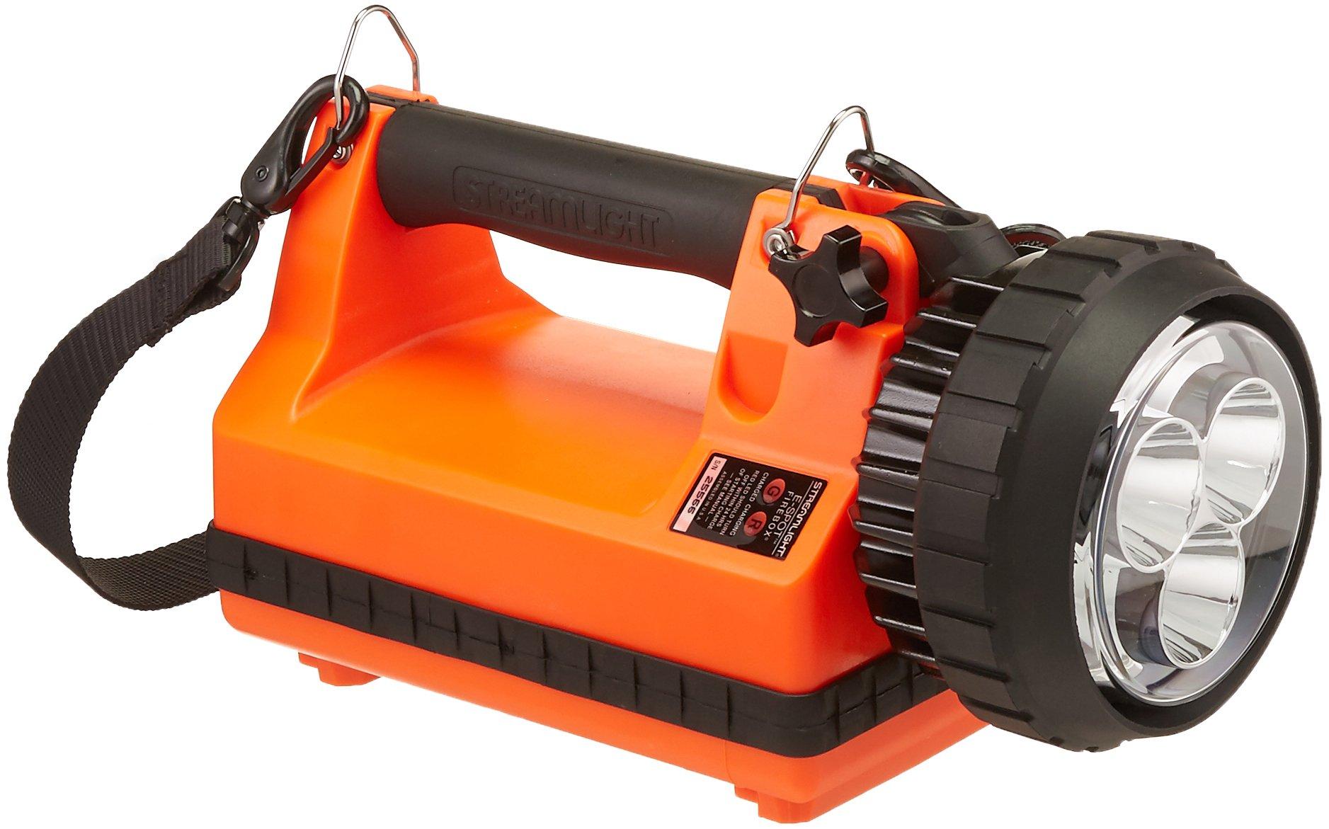 Streamlight 45861 E-Spot Firebox Lantern Standard System with 120V AC/12V DC Charge Cords, Shoulder Strap and Mounting Rack, Orange