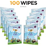 Yogo Grooming Pet Wipes for Dogs Cats and Other Pets, Soft and Strong Deodorizing Natural Fresh Wipes, 10 On-the-go Travel Packs - 100 Wipes Total
