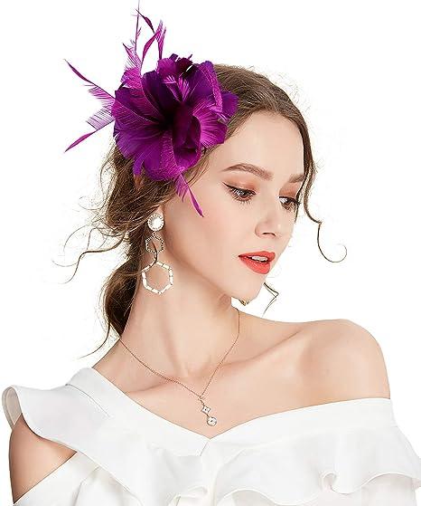 Tocado para mujer dise/ño de plumas florales Janey/&Rubbins
