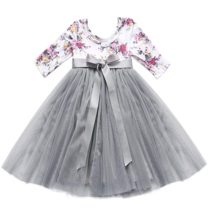 7587674270909 Flofallzique 3/4 Long Sleeve Girls Dress Easter Wedding Party Tulle Toddler  Dress Christmas Baby Clothes