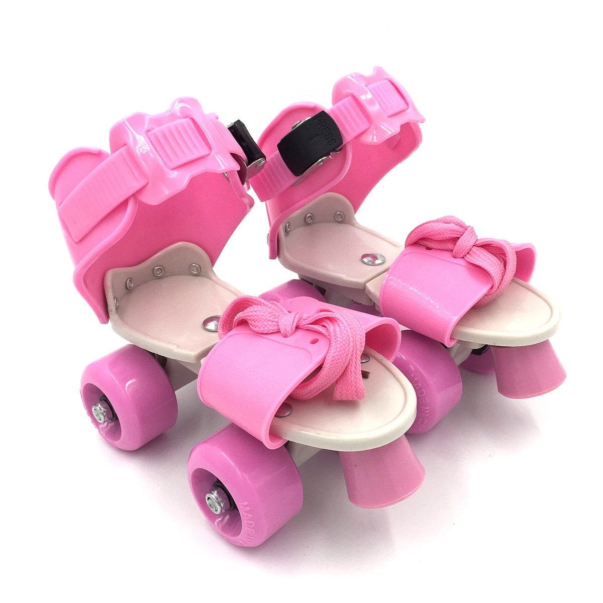 Outinpro Kid's Children's Adjustable Speed Quad Roller Skates Shoes (Pink)