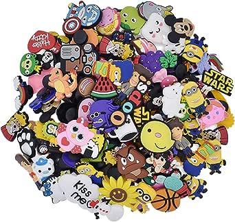 ZSWQ 100 Pcs Different PVC Shoe Charms,Shoes Charm Cartoon Lovely Shoes Decoración Pulsera Charms Favores De Fiesta,los mejores regalos para adultos, adolescentes, niños y niñas
