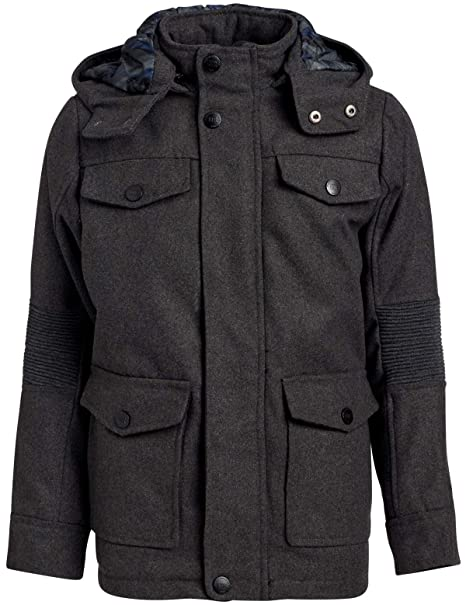 Urban Republic Boys Wool Officer Jacket with Hood