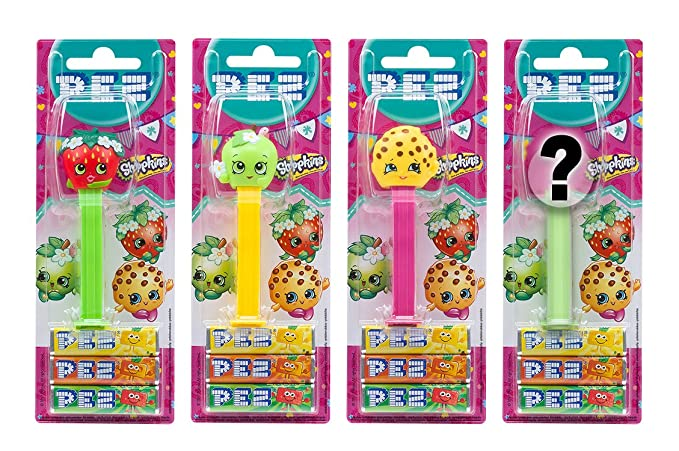 PEZ set de dispensadores Shopkins (4 dispensadores con 3 recargas de caramelos PEZ de 8