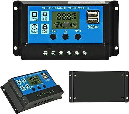 schwarz und blau RBL-30 YUIO/® Intelligenter Solarladeregler PWM-Reglerregler mit zwei USB-LCD-Displays Solarpanel-Batterieregler