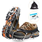 Ice Grippers, 2017 New Design Lightweight 18 Teeth Stainless Steel Spikes Crampons Anti-slip Safe for Walk on Ice and Snow Coming with Storage Bag