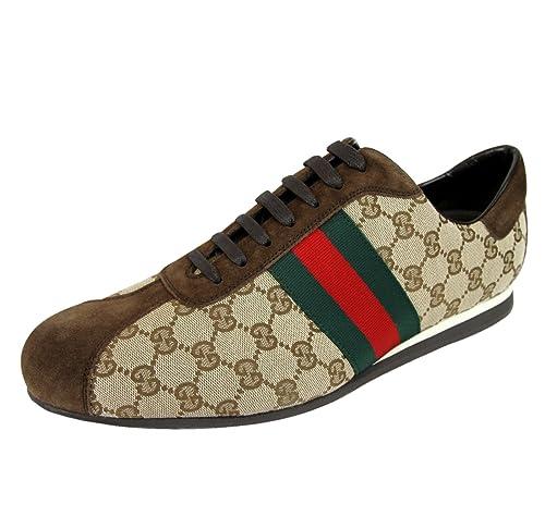 Gucci Hombre Lienzo Original de la firma Web zapatillas 117711 8487: Amazon.es: Zapatos y complementos