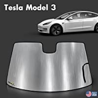 GalaxyAutoShield Custom Fit Reflective Windshield Sun Shade Compatible with 2018 2019 2020 2021 Tesla Model 3, Window…