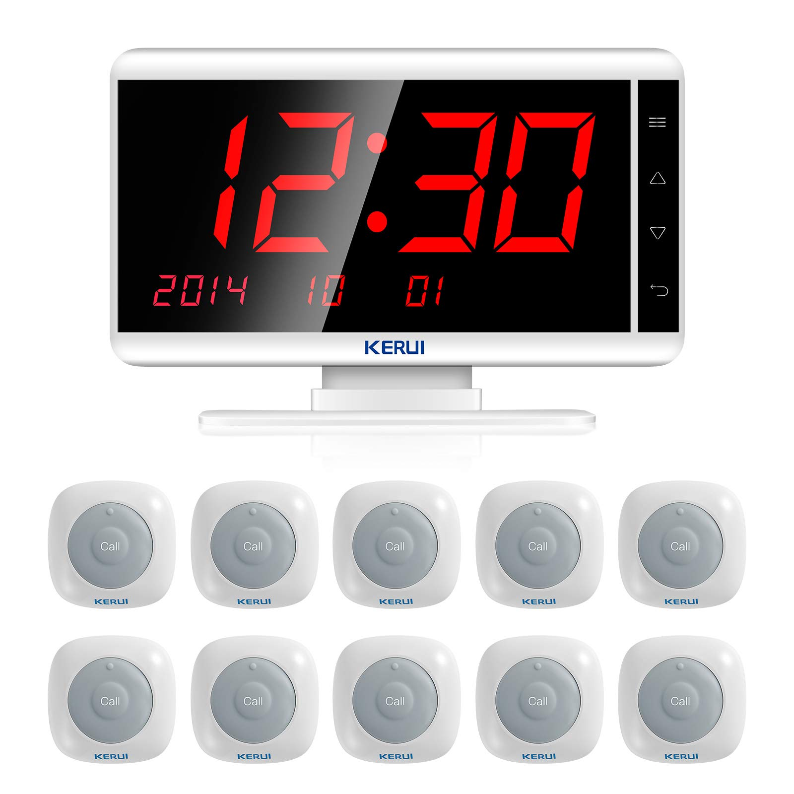 Restaurant Paging System,KERUI Wireless Waiter Server Paging Calling System for Caregiver,Office,Patient,Coffee Shop-Pack of 10 pcs Waterproof Service Buzzers and 1 pc Signal Receiver of KR-C1999 by KERUI