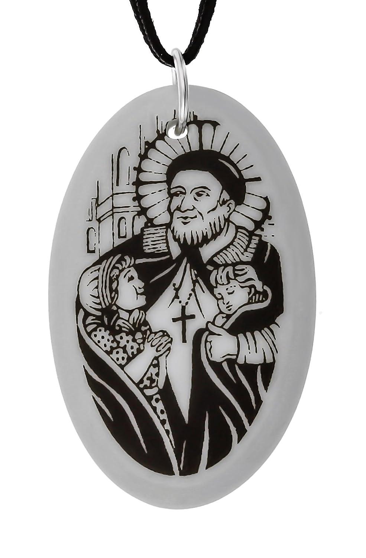 TSP Handcraft Saint Vincent de Paul Oval Porcelain Pendant on Black Cord