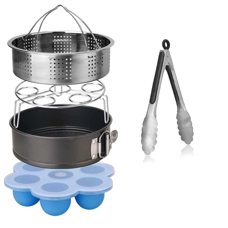Esjay Accessories Set for Instant Pot-Fits 5,6,8Qt Instant pot Pressure Cooker,5-Pcs with Steamer Basket/Egg Steamer Rack/Egg Bites Molds/Non-stick Springform Pan/Kitchen Tongs,Best Gift Idea by Esjay