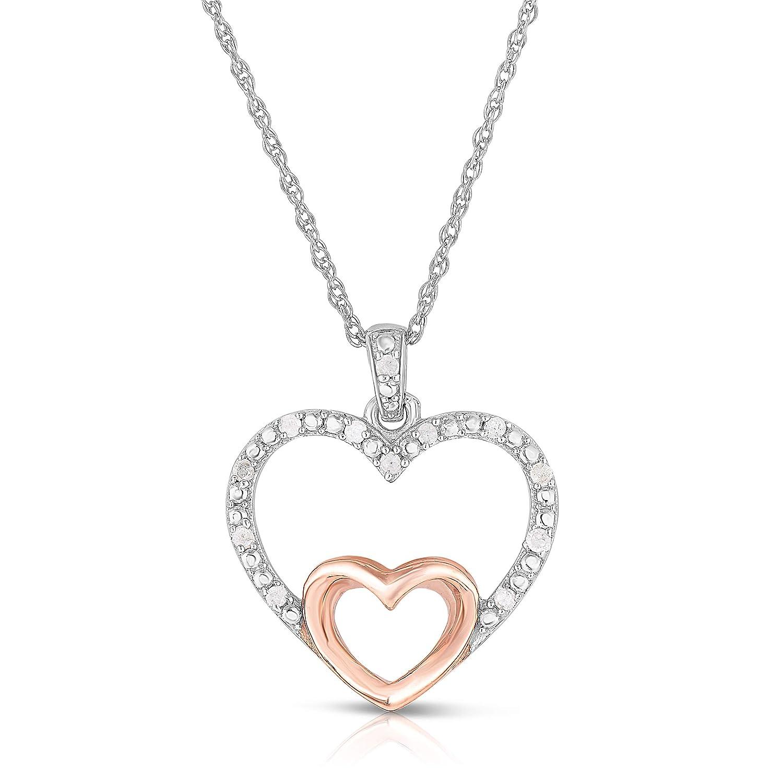 NATALIA DRAKE 0.10cttw Two Tone Diamond Heart Pendant in Sterling Silver